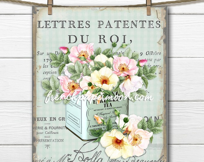 Vintage French Shabby Roses, Tea Tin, Gingham, Fabric Transfer, French Pillow, Large size Graphic Transfer, French Kitchen Wall Art