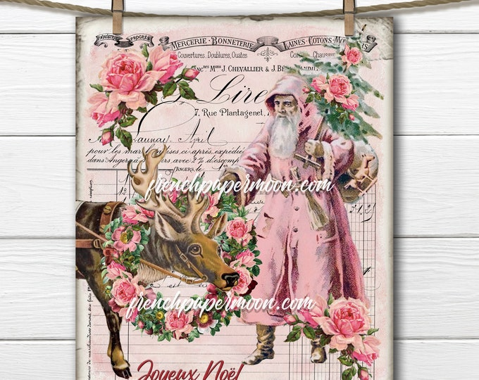 Shabby Pink Victorian Santa Claus, Pink Santa, Reindeer, Rose Wreath, French Xmas Pillow, Fabric transfer, Printable Pink Xmas, PNG, JPEG