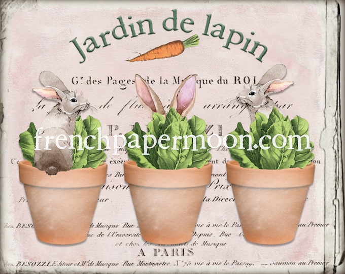 Digital Shabby French Bunny Rabbit Garden Printable, Bunnies in Pots, Adorable Rabbit Print, Craft Supply, Graphic Transfer Image