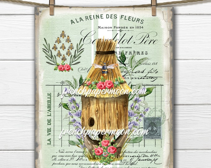 French Honey Bee Digital Graphic, Beehive, Bee Ephemera, Shabby Honey Bee, French Pillow Bee, Fabric Transfer, Transparent, Decoupage, Print