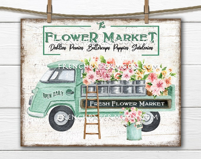 Flower Market Digital, Flower Truck, Spring Flowers, DIY Spring Sign, Retro Truck, Pillow Image, Wreath Attachment,Sublimation, Wood, PNG,