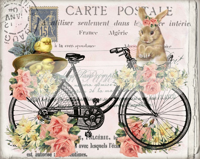 Shabby Easter Bike with Bunny, Easter Chicks,Roses, French Easter Pillow Image, Easter Transfer Graphic, Vintage Digital Printable