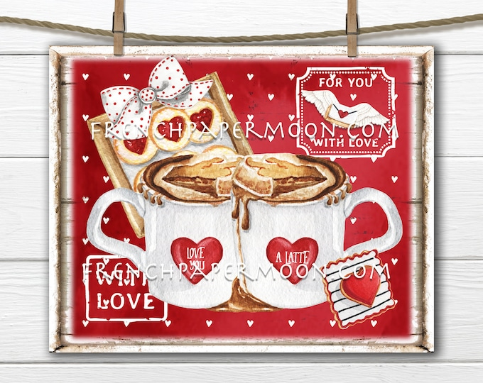 Valentine Coffee Digital, DIY Valentine Sign, Latte, Cookies, Valentine Stamps, Hearts, Pillow Image, Sublimation, Wreath Attachment, PNG