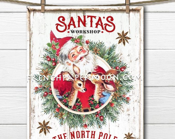 Cute Retro Santa Reindeer, Christmas Sign, Santa Workshop, DIY Xmas Sign, Wreath Attachment, Pillow Image, Santa Decor, Reindeer Print, PNG
