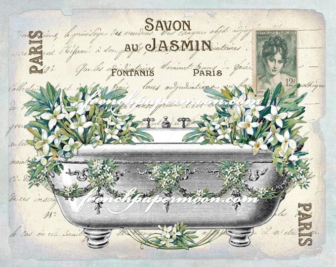 Shabby FRENCH BATHTUB FLOWERS, Victorian Bath, Spring, Jasmin, Salle de Bain, French Bathroom Decor Digital Download, Image Transfer
