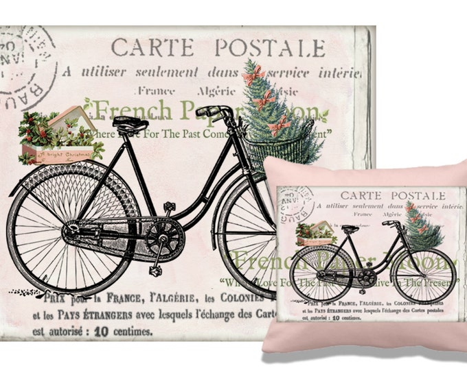 Digital Christmas Bike, Shabby Pink Christmas Bike Download, Christmas Pillow Image Transfer, Iron on Fabric