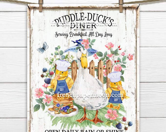 Spring Ducks, Duckings, DIY Easter Sign, Spring Sign, Mama Duck, Duck Diner, Pillow Image, Wreath Attachment, PNG, Wood, Easter Decor