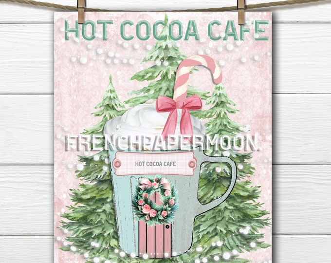 Cutest Hot Chocolate Store Digital, Hot Cocoa, Candy Cane, Wreath, Mug, Cup, Christmas Tree, Instant  Download Xmas Printable
