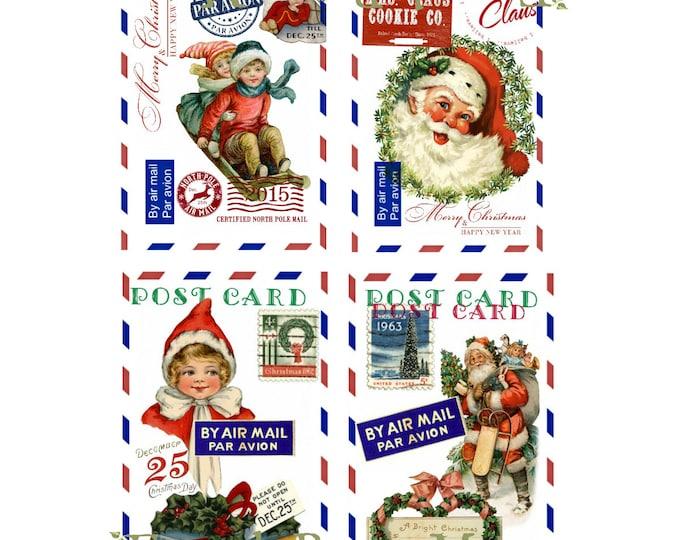 Santa Digital Christmas Postcards, Digital Airmail Christmas Printable, Retro Christmas Digital, Christmas Download, set of 4 cards