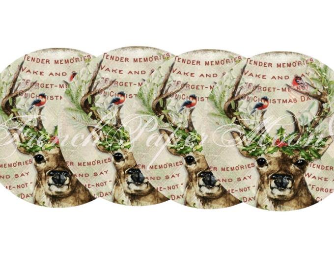 "Digital Reindeer Circles, 3.75"" Christmas circle printable, set of 4, Instant Download"