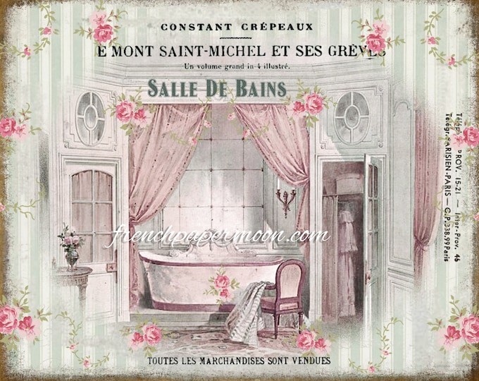Shabby Vintage French Bathroom, Salle de Bain, Victorian Bathtub, French Bathroom Print, Instant Download Graphic