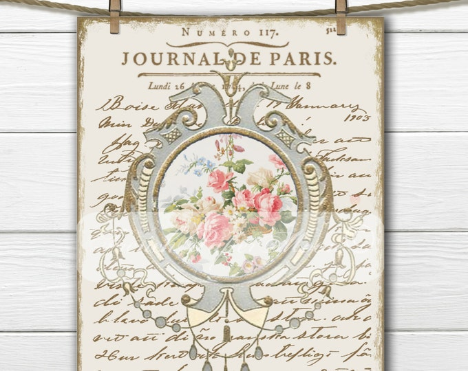 Elegant Vintage French Digital Pillow Transfer, Vintage French Wallpaper Flowers, French Transfer Graphic,  Iron On Fabric