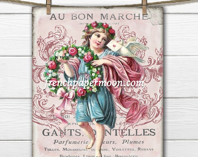 Digital Victorian Valentine Graphic, Vintage Printable Valentine, Valentine's Day Decor, Valentine Crafts, French Valentine Cherub