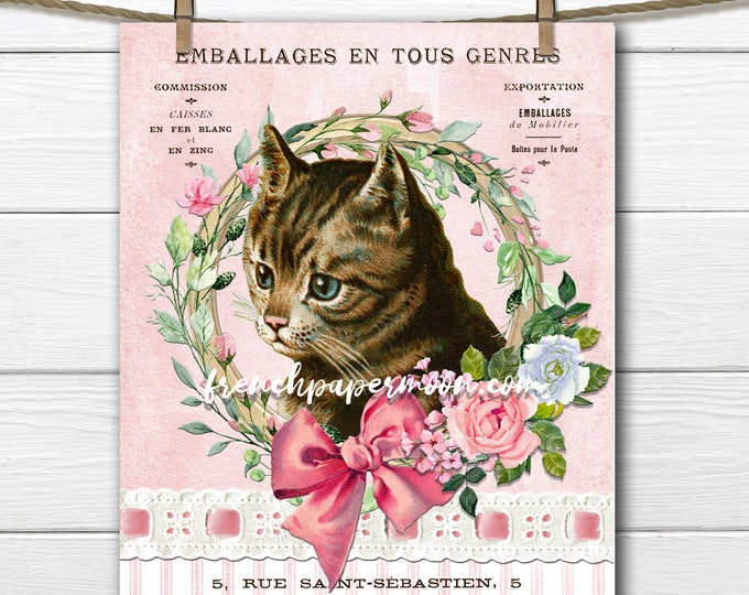 French Shabby Cat, Victorian Cat Graphic, Printable Vintage Cat, Cat Lover, Roses,  French Cat Pillow Image, Sublimation, Transparent