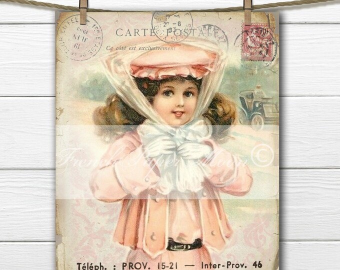 Shabby Chic Digital Victorian Girl with Bonnett, French Digital Postcard, Digital  Sheet, Instant Download, Fabric Transfer Image