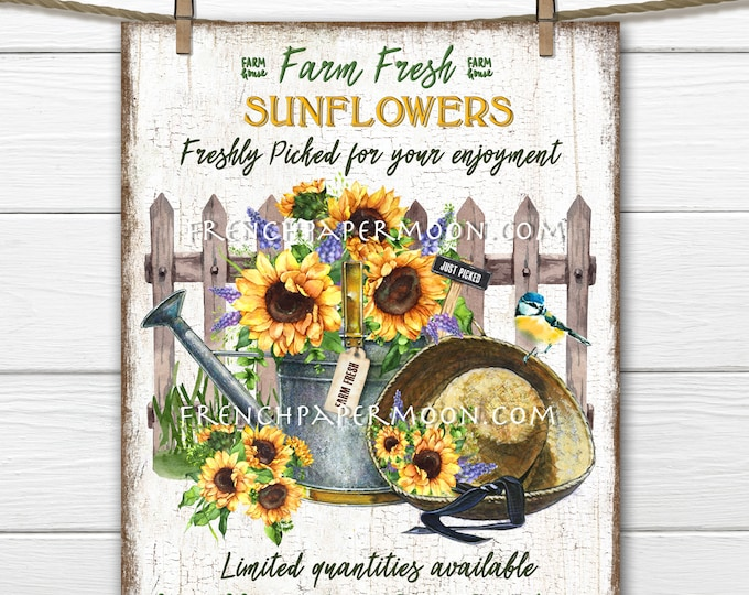 Farmhouse Sunflowers, Sunflower, Digital, Watering Can, Picket Fence, DIY Spring Sign, Wreath Decor, Pillow Image, Kitchen Decor, PNG, Wood