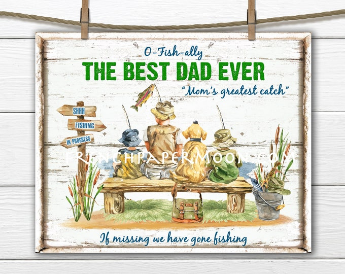 Fathers Day, Fishing, Best Dad, Gone Fishing, Lake, Summer, DIY Fishing Sign, Father's Day Crafts, Cardmaking, Decoupage, Pillow Image, PNG