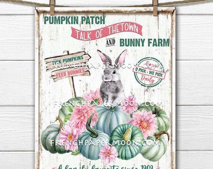 Pastel Fall, Pumpkin Patch, Bunny Farm, Floral Pumpkins, DIY Autumn Pumpkin Sign, Wreath Accent, Fabric Transfer, Digital Print, Kids Decor