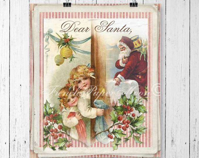 Vintage Digital Santa, Dear Santa, Santa Letter, Christmas, Instant Download Printable Image, Xmas Graphic, Christmas Crafts