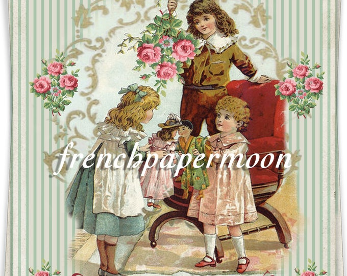 Shabby Victorian Christmas Children, Mistletoe, Christmas Morning, Fabric Transfer, Christmas Printable, DIY Christmas Crafts
