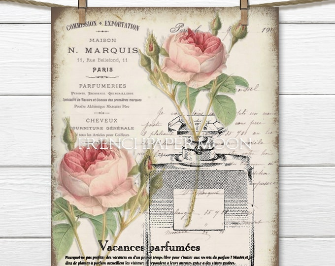 Shabby French Perfume Download, French Perfume Rose Printable vintage Roses, Perfume Bottle, Instant Download, Fabric Transfer