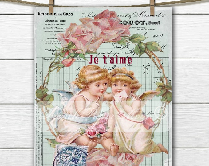Vintage Shabby Chic Valentine Cherub Digital, Love Letter, French Valentine Pillow Image, Graphic Transfer Download