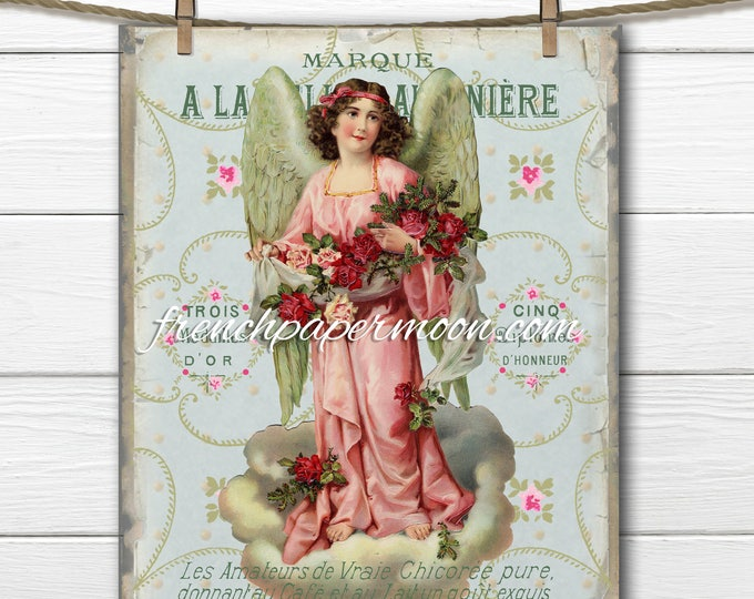 Shabby Chic Printable Victorian Angel, French Shabby Christmas, French Graphics, DIY Crafts, Decoupage, Pillow Image, Fabric Transfer