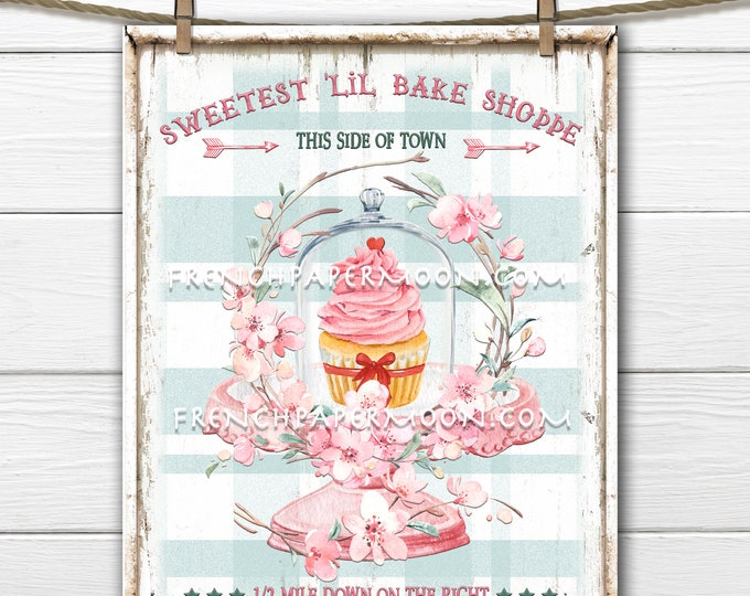Pink Bakery Printable, Digital Sign, Pink Cupcake, Pink Sweets, Cloche, Pastel Bakery, Valentine Graphic, Pillow Image, Wreath Decor, PNG