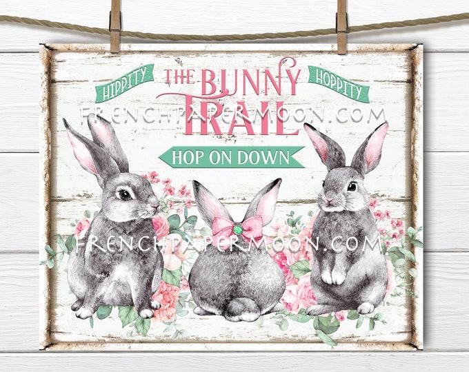 Easter Bunnies, Bunny Trail, Spring Bunnies, DIY Easter Sign, Spring Sign, Farmhouse Bunnies, Pillow Image, Fabric Transfer, Wreath Decor