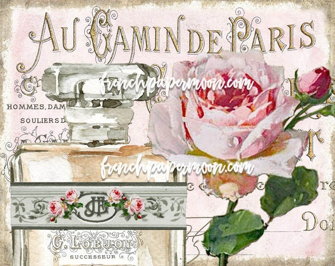 Shabby French Rose Digital, Antique Perfume Graphic, Fabric Transfer, Wall Decor, Tiered Tray, Bathroom, Bedroom Printable, Instant Download
