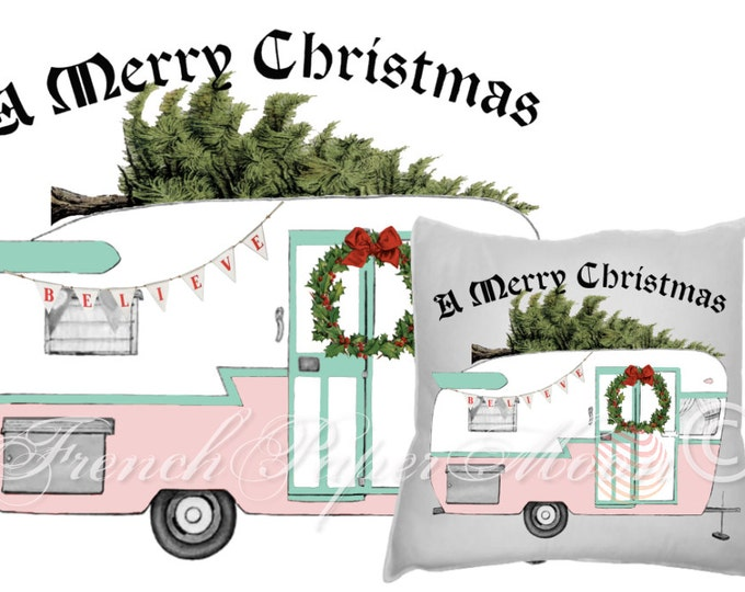 Vintage Pink Christmas, Holiday Camper, Trailer, Shabby Christmas Digital Download Fabric transfer Graphic