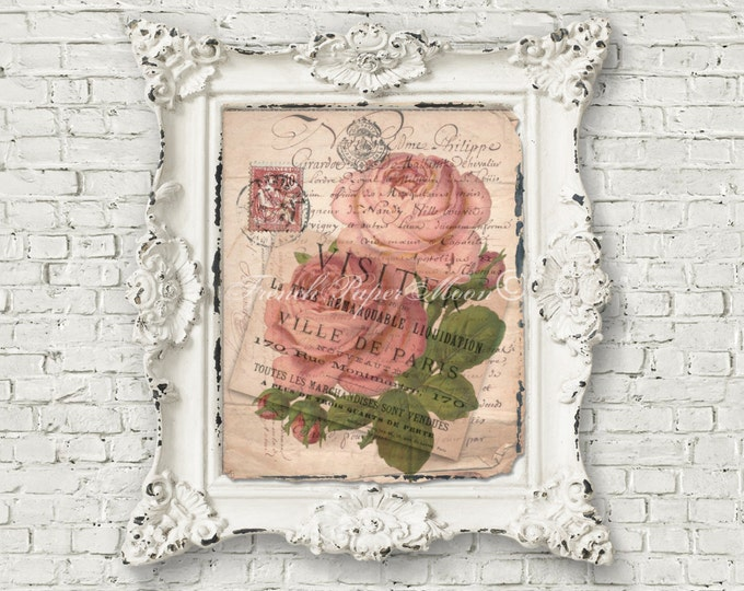 French Shabby Carte Postale, Vintage Roses, French Rose Digital, Pink Roses, French Pillow Transfer Graphic, Large Image