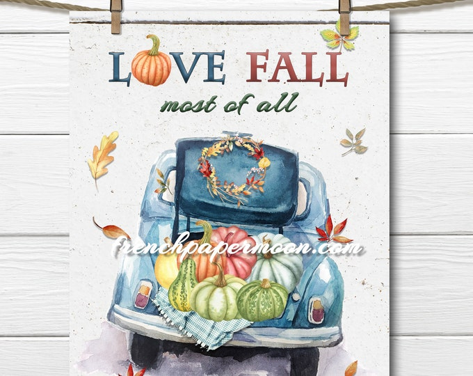 Vintage car, open trunk, multicolor pumpkins, autumn print, pillow image JPEG PNG, Graphic transfer, crafts, sublimation, decoupage, fabric