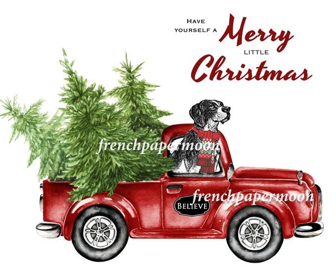 Digital Christmas Dog, Doggie Xmas, Red Pickup Truck, Pillow Image, Printable Fabric transfer, Christmas Cards, Crafts