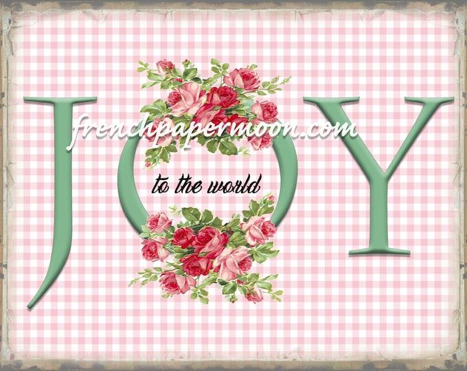 Shabby Pink Christmas Sign, Joy to the world, Pink Xmas Roses, Shabby Christmas Printable, Pillow Image, Decoupage, JPEG PNG