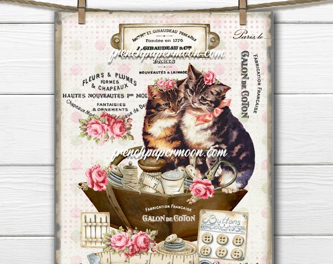 Vintage French Cat, Shabby Cat Graphic, Sewing Basket, French Pillow Image, Ephemera, Large Size, Image Transfer, Transparent, JPEG