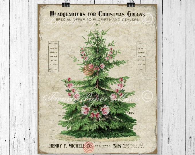 Shabby Vintage Digital Christmas, Tree with Roses, Shabby Pink Christmas Graphic, Christmas Tree Download, Vintage Advertising