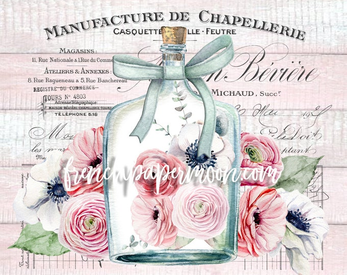 Shabby Pink French Floral Graphic, Digital Image, Anenomes, Ranunculas, Wood Background, French Ephemera, Glass Bottle printable