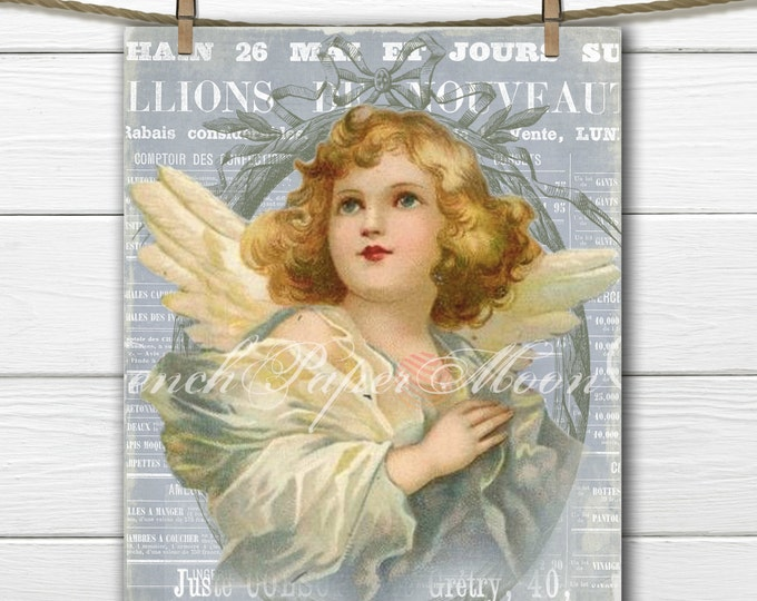 Vintage Digital Victorian Angel Collage Sheet, Shabby Chic Angel Download, French Angel Image, French Angel Pillow Graphic