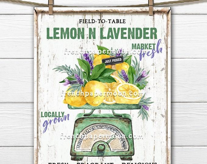 Farmhouse Scale, Summer Lemons, Lavender, DIY Lemon Market Sign, Farm Fresh Lemons, Pillow Image, Fabric Transfer, Kitchen Decor, PNG, Wood
