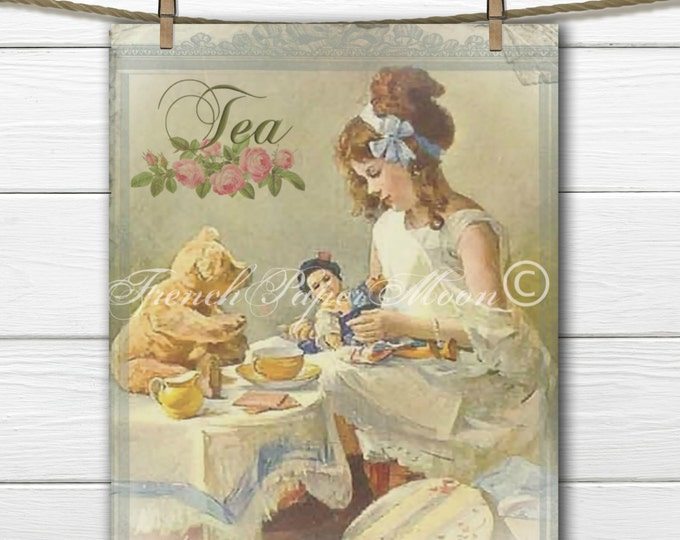 Instant Digital Download, Vintage Tea Party, Teddy Bear Tea Party, Printable Nursery Decor, Teatime Pillow Transfer