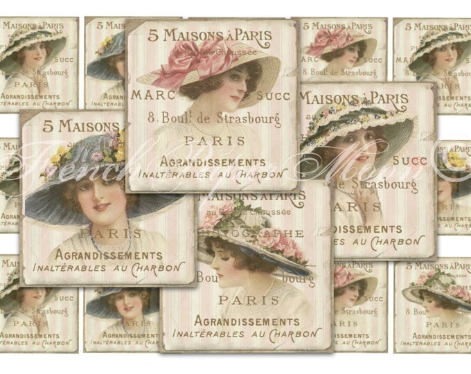 Shabby French Digital 2x2 inch square, printable ladies, shabby chic paris squares, digital collage sheet, french ephemera