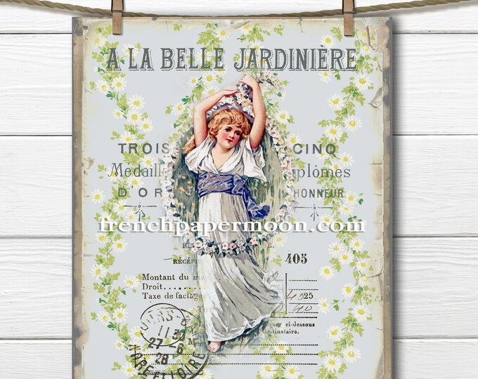 Victorian Daisy Girl French Graphics Garden Printable French Image Pillow Transfer Decoupage Shabby Daisies Instant Download