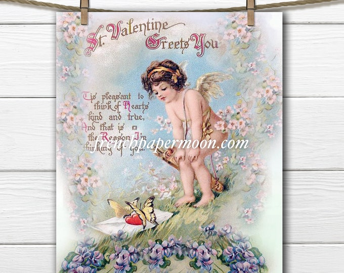 Adorable Digital Valentine Cupid, Victorian Valentine, Vintage Valentine Image, Graphic Transfer, Pillow Image, Craft Supply