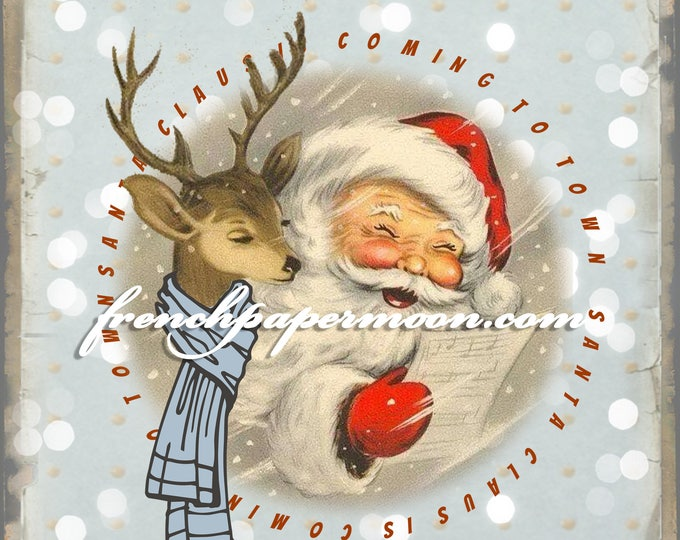 Digital Vintage Santa, Reindeer, Christmas Word Art, DIY Christmas Printable, Large Image, Christmas Pillow
