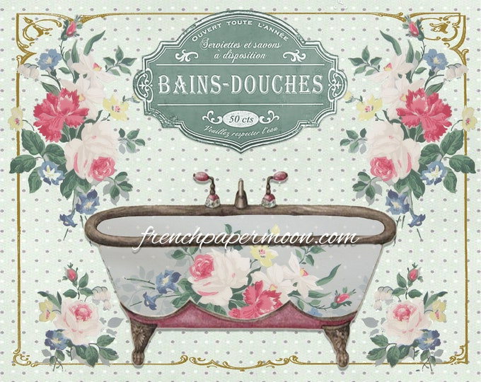 Shabby Digital Vintage French Bathtub Printable, French Bathroom, Salle de Bains, Large Image Download