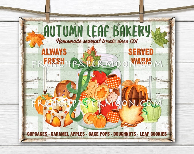 Autumn Bakery, Fall Treats, Fall Cookies, Sweets, Fall Bakery Sign, Image Transfer, Wreath Attachment, Fabric Transfer, Digital Print, PNG