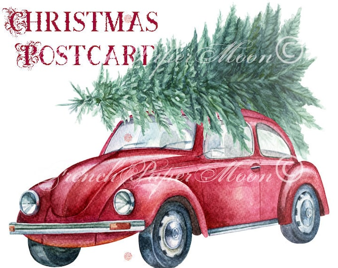 Printable Christmas Red Retro Car With Tree Christmas home decor Christmas Red Retro Car Christmas party decor Snowflakes print