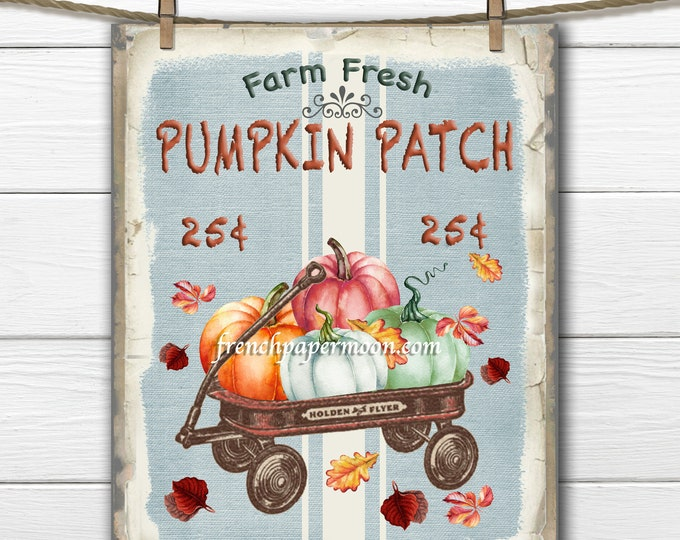 Vintage Pumpkin Patch Printable, Wagon with Pumpkins, Fall Pillow Image, PNG JPEG, Graphic Transfer, Autumn Fabric Transfer
