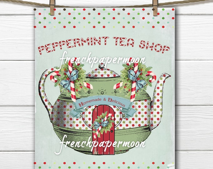 Adorable Digital  Christmas Tea shop, Teapot, Candy Canes, Polka Dots, PNG, JPEG, Christmas Decor, Crafts